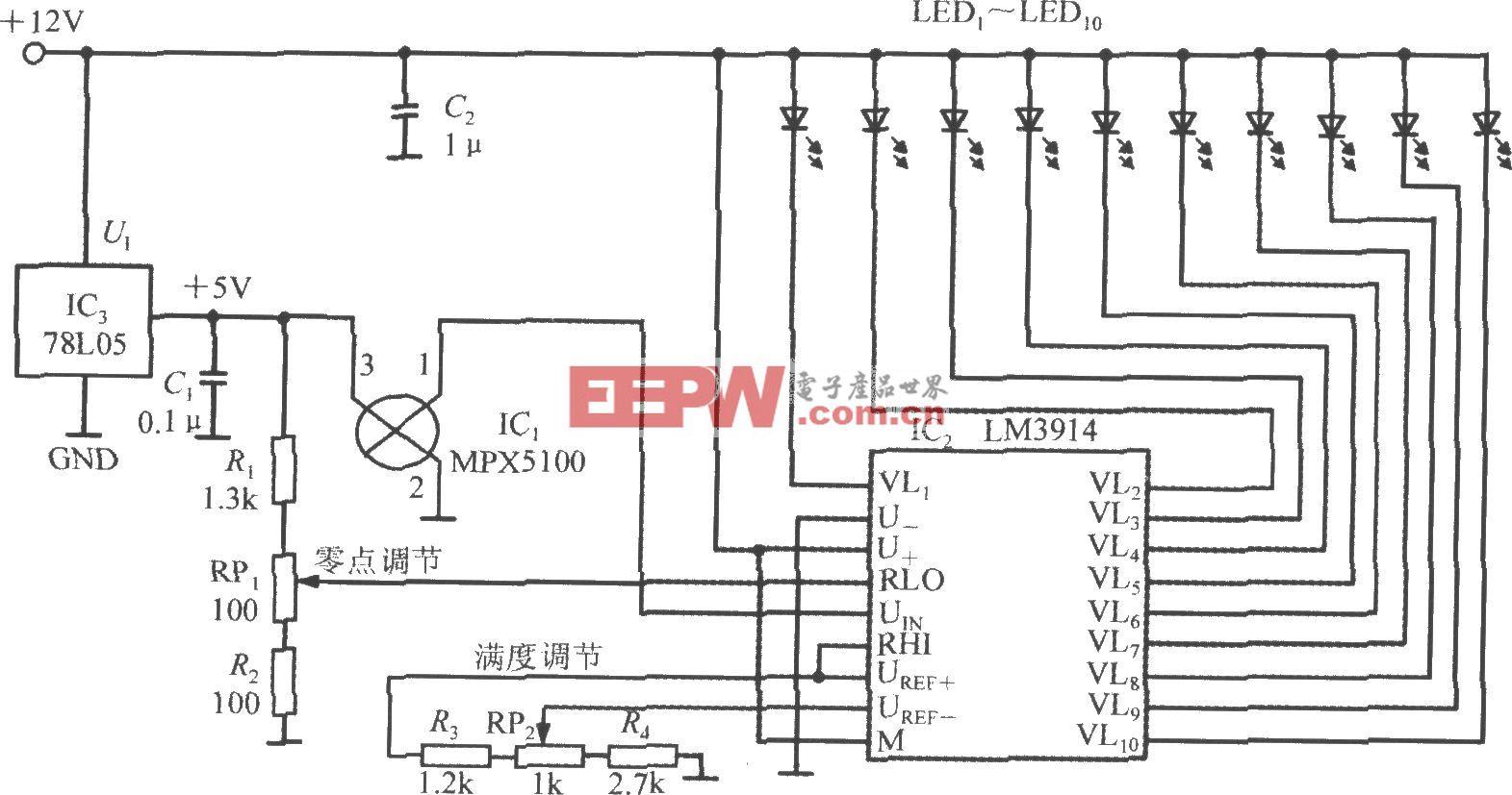由集成硅压力传感器MPX5100A构成的LED条图显示压力计电路
