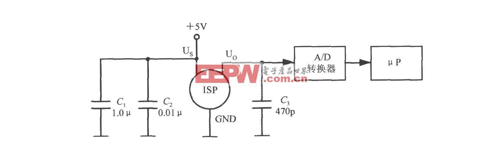 由集成硅压力传感器MPX4100A构成的管道压力监测电路