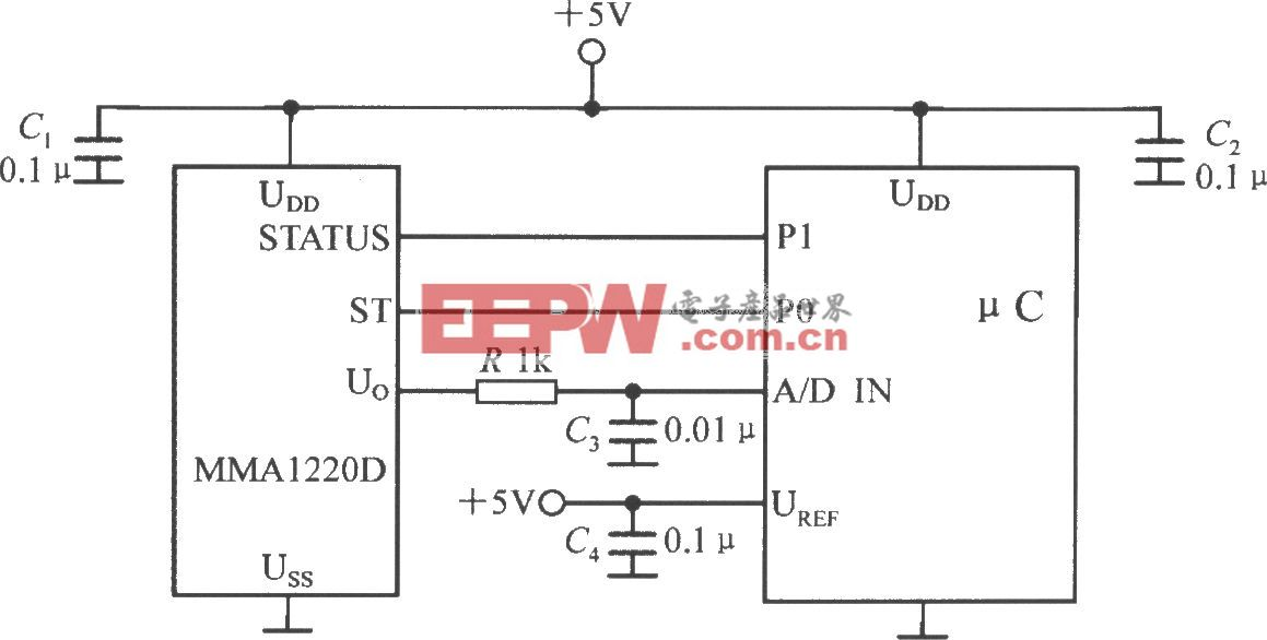 单片加速度传感器MMA1220D与单片机的接口电路