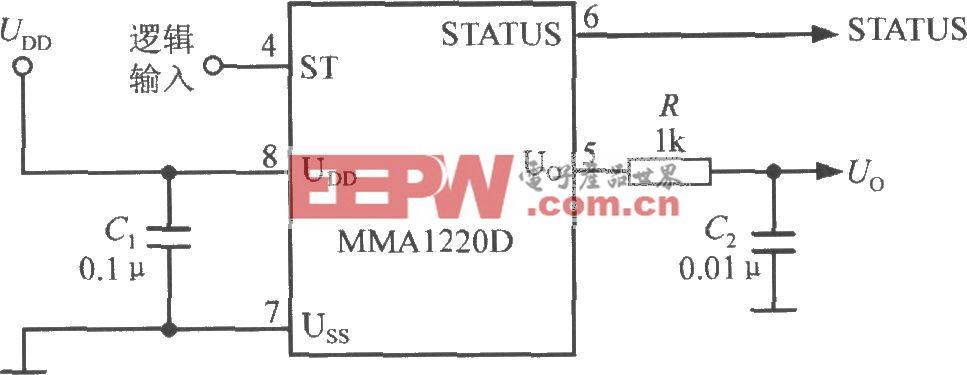 由单片加速度传感器MMA1220D构成的加速度计电路