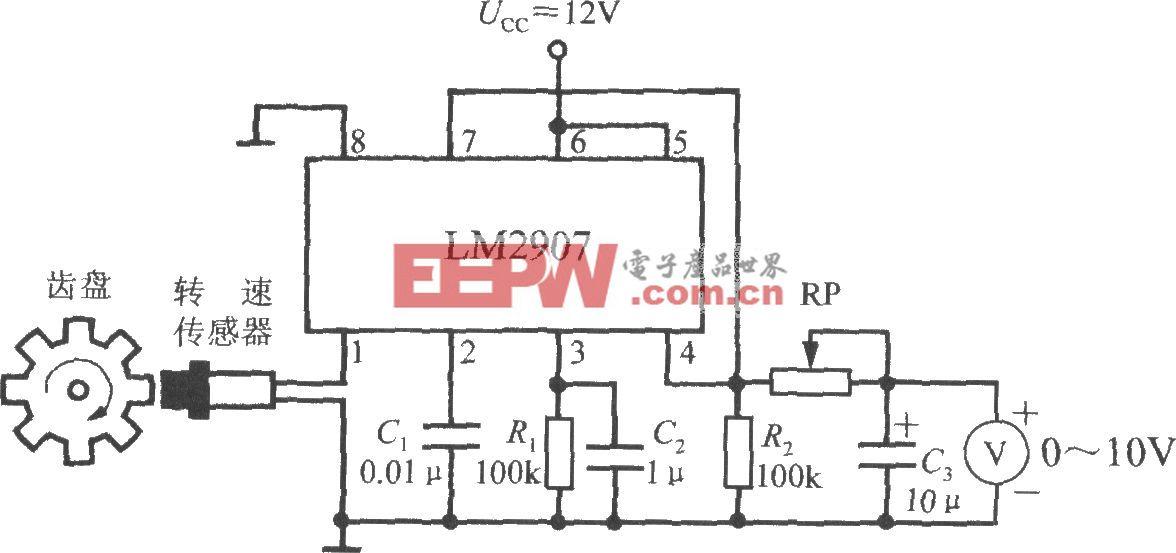 由集成转速/电压转换器LM2907构成的转速表电路