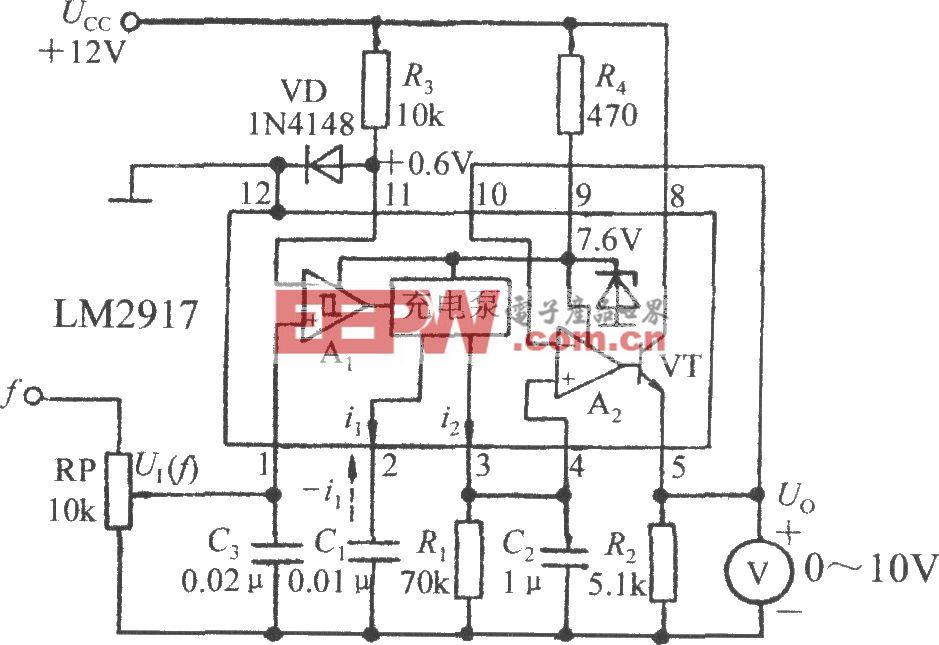 由集成转速/电压转换器LM2917构成的频率/电压转换电路