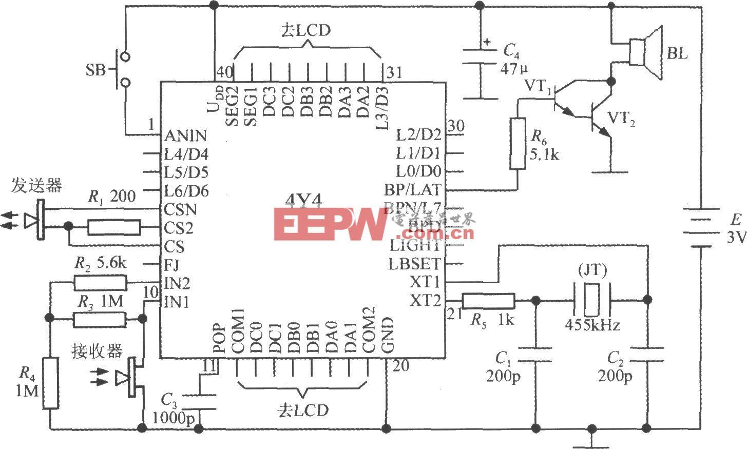 由智能化超声波测距集成电路4Y4构成单片液晶显示测距仪电路