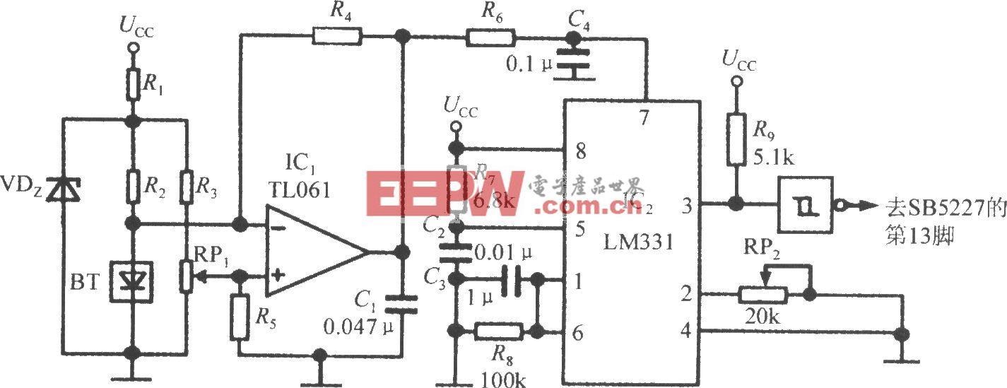温度检测电路(智能化超声波测距专用集成电路SB5527)