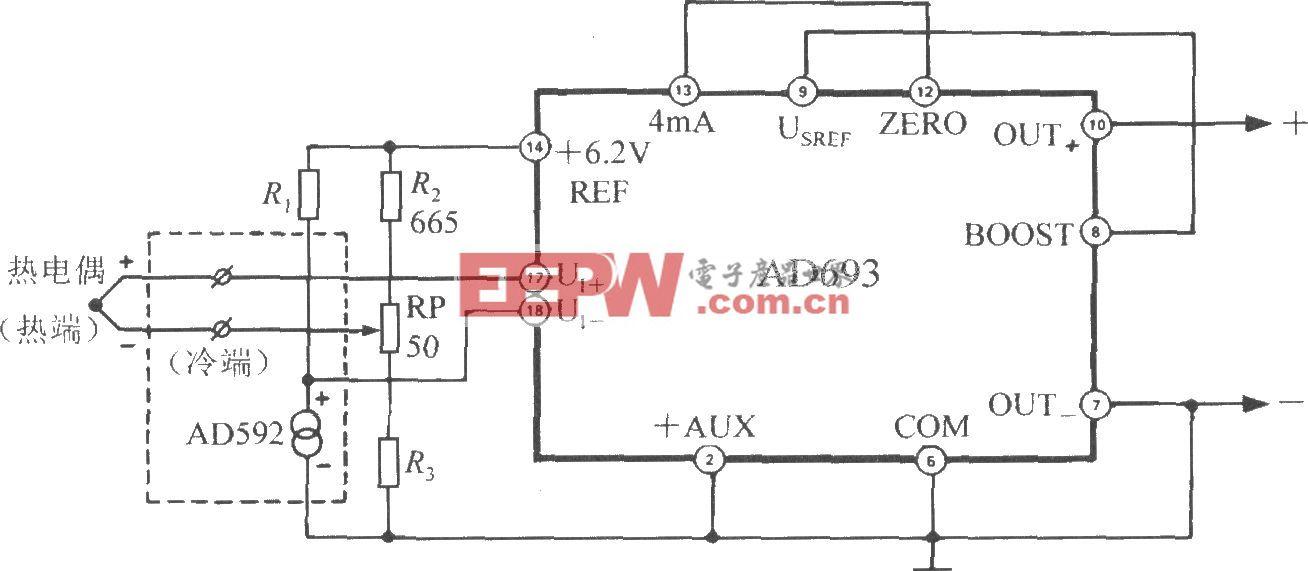 由多功能传感信号调理器AD693构成的带冷端温度补偿的热电偶测温电路