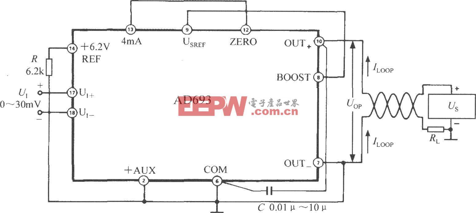 由多功能傳感信號調理器AD693構成0~ 30mV單極性輸入、4~20mA輸出電路