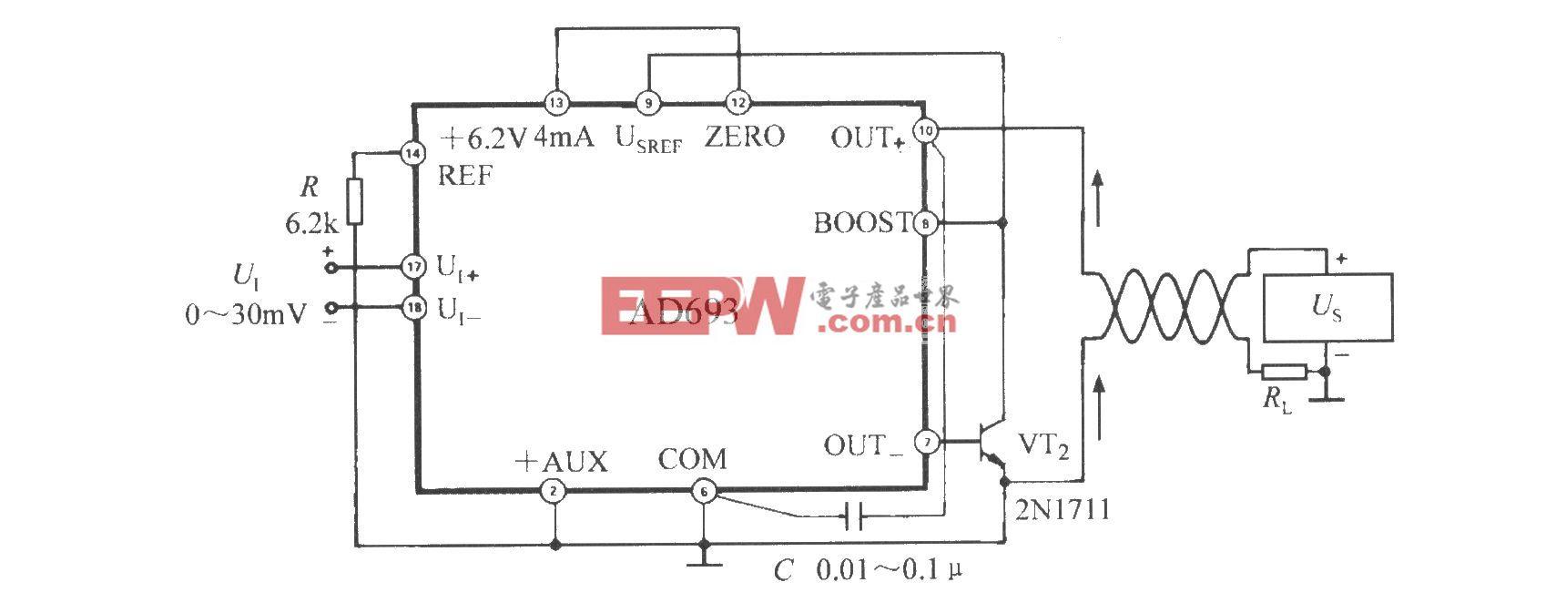 采用并联外部功率管的方法来降低AD693功耗的电路