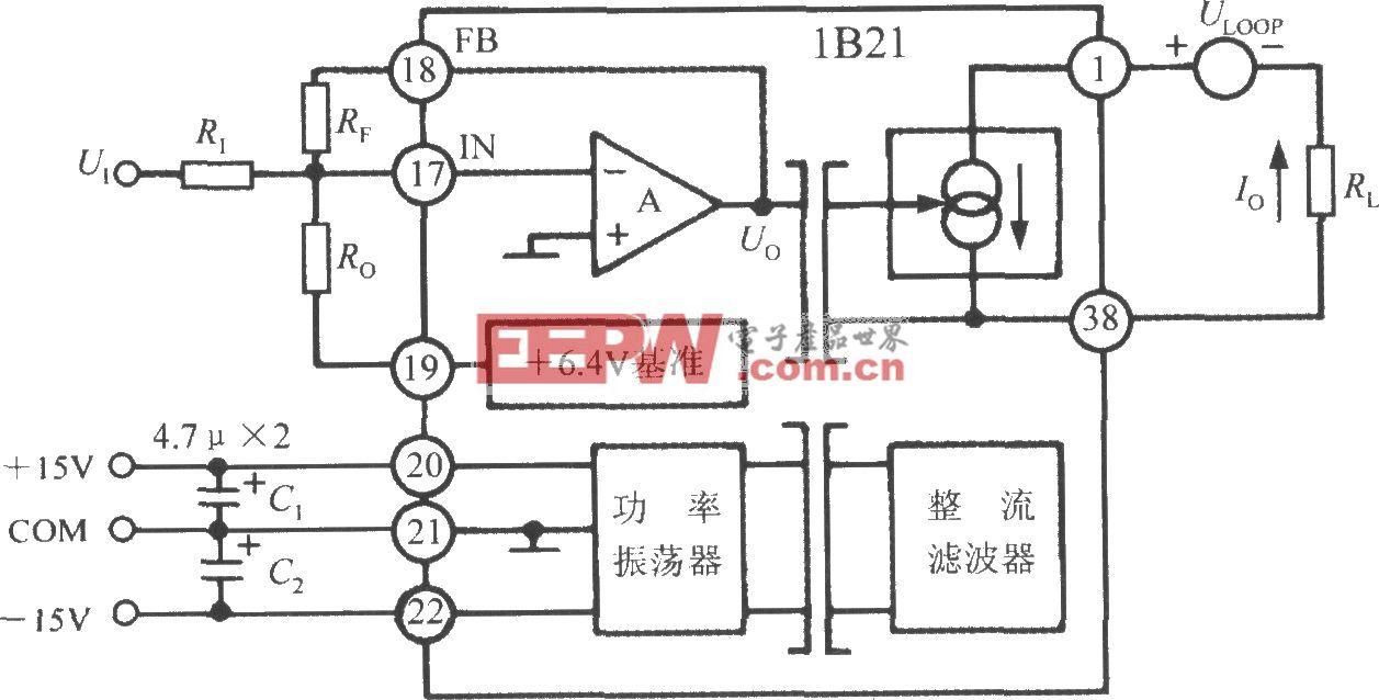 隔离式电压/电流传感器1B21的典型应用电路