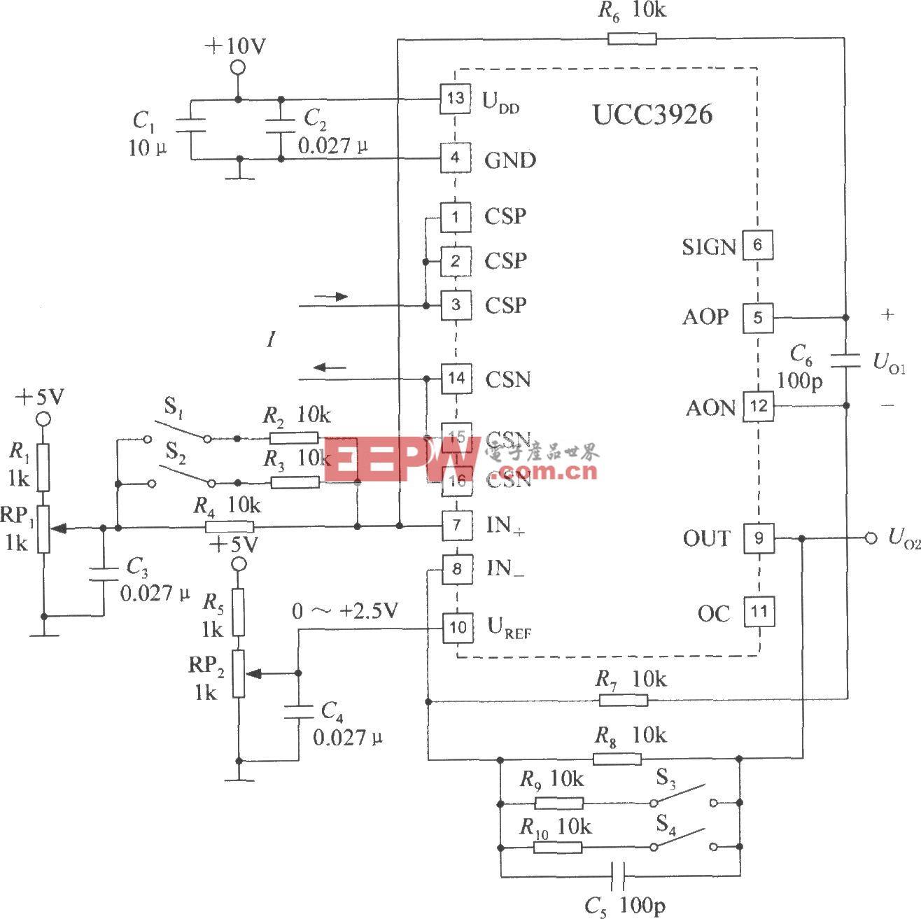集成電流傳感器UCC3926的典型應用電路
