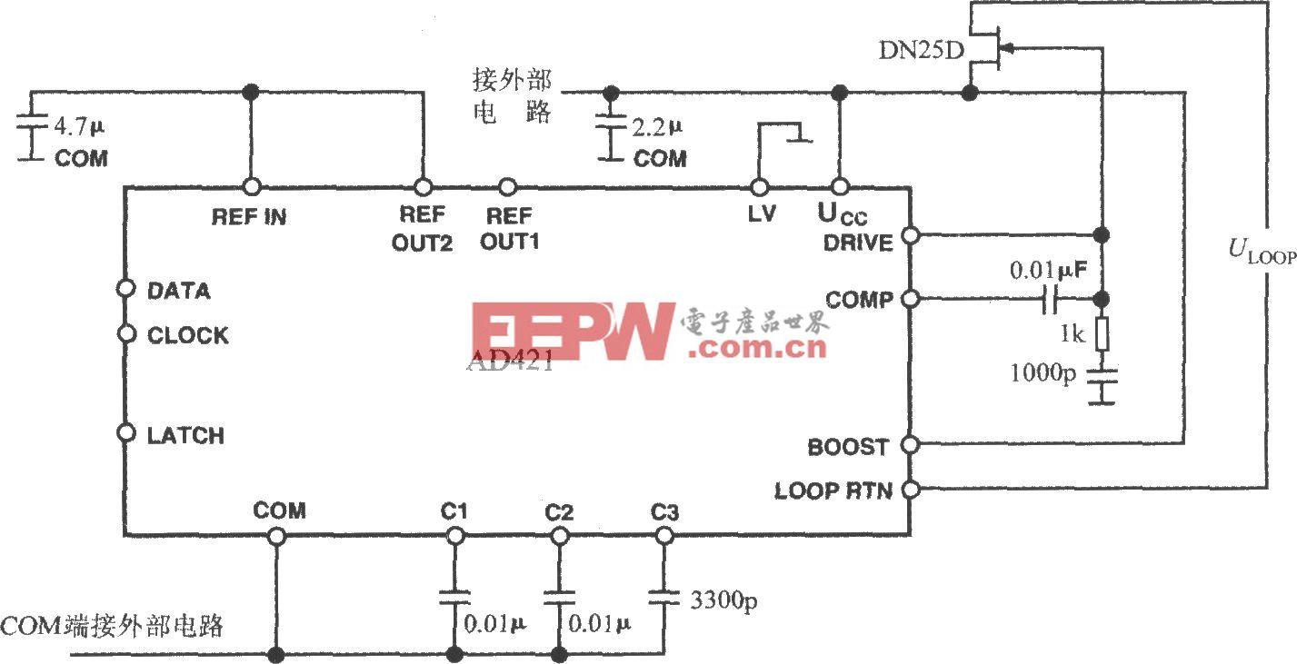 4~20mA电流环输出式数模转换器AD421的基本接线