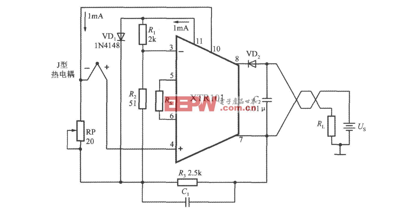 由精密電流變送器XTR101構成帶冷端溫度補償功能的J型熱電偶輸入電路