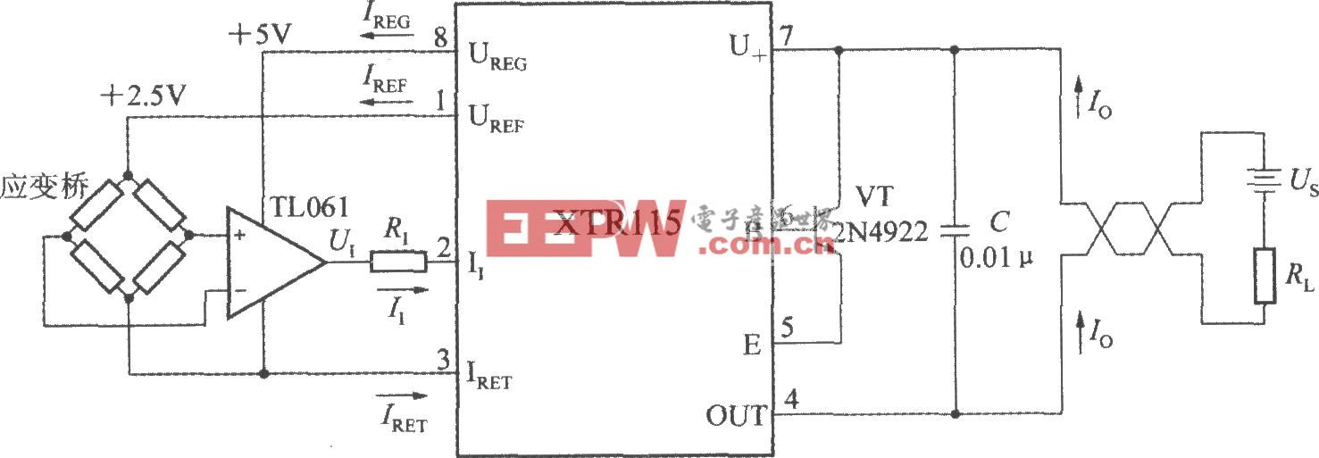 由精密電流變送器XTR115構成應變橋電流變送器電路