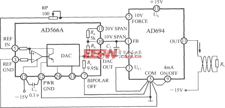 多功能传感信号调理器AD694用作数/模转换器(DAC)的电流环接口电路
