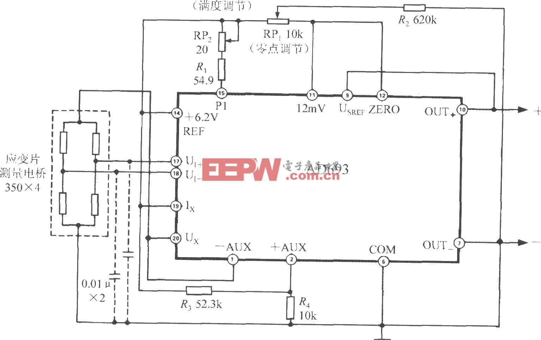 由多功能傳感信號調理器AD693與電阻應變片構成的應變儀電路