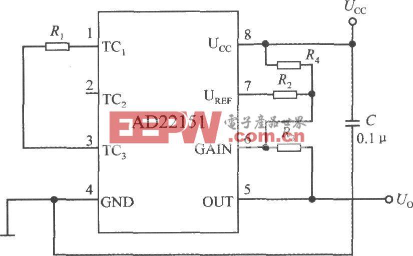 由线性输出集成磁场传感器AD22151构成的单极性模式下的温度补偿电路