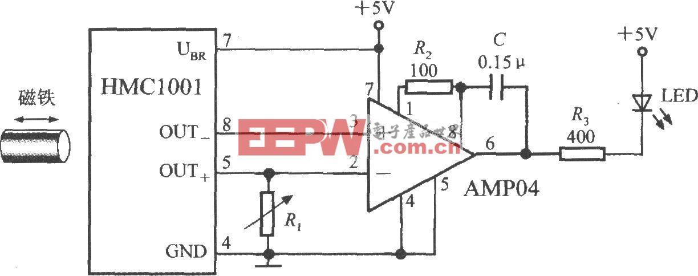 由集成磁场传感器HMC1001构成的接近开关电路