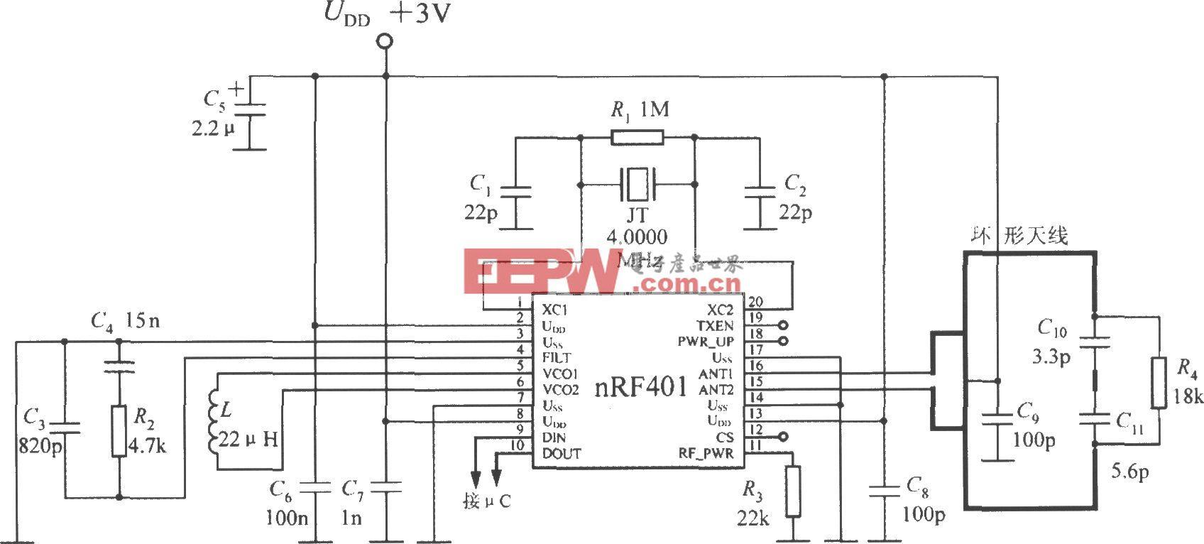 单片射频收发器nRF401的典型应用电路
