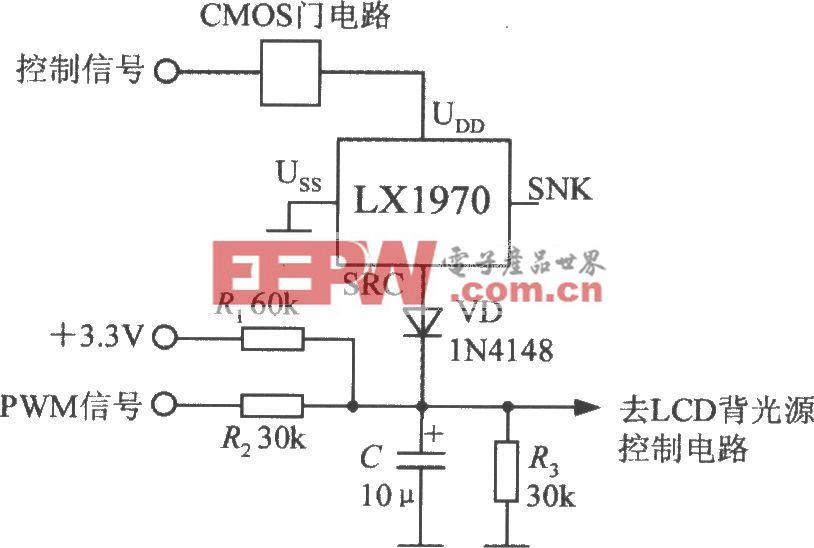 采用门控开关的亮度调节电路(可见光亮度传感器LX1970)