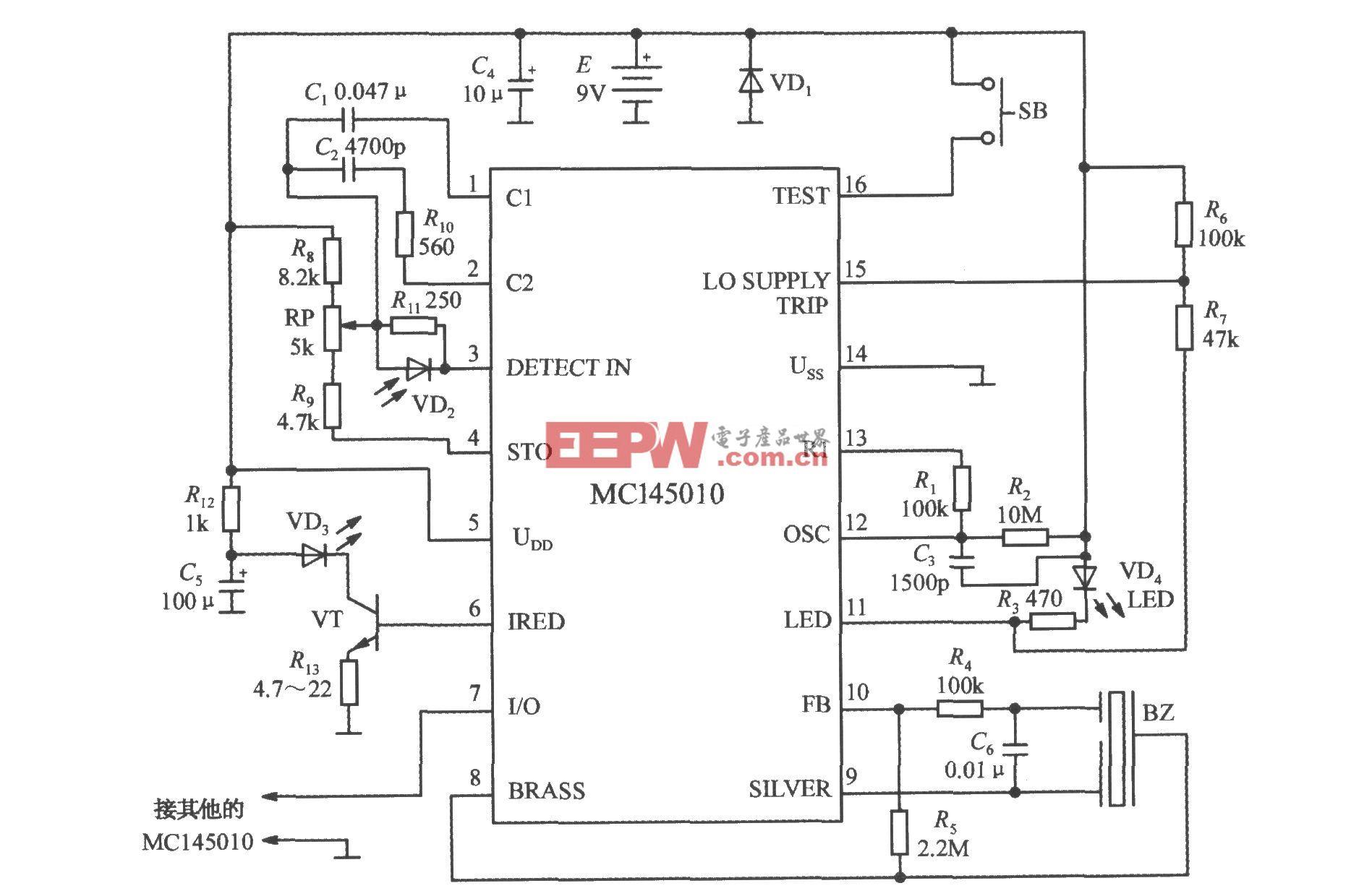 由光电型烟雾检测报警集成电路MC145010构成的烟雾报警电路