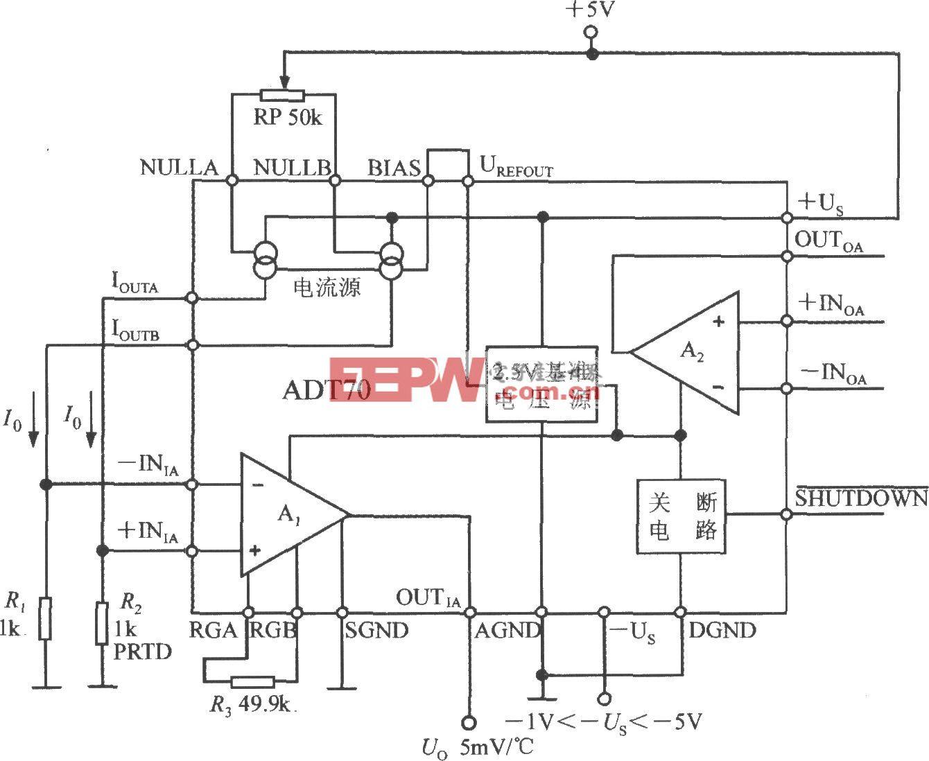 铂热电阻信号调理器ADT70的内部电路框图及典型应用电路