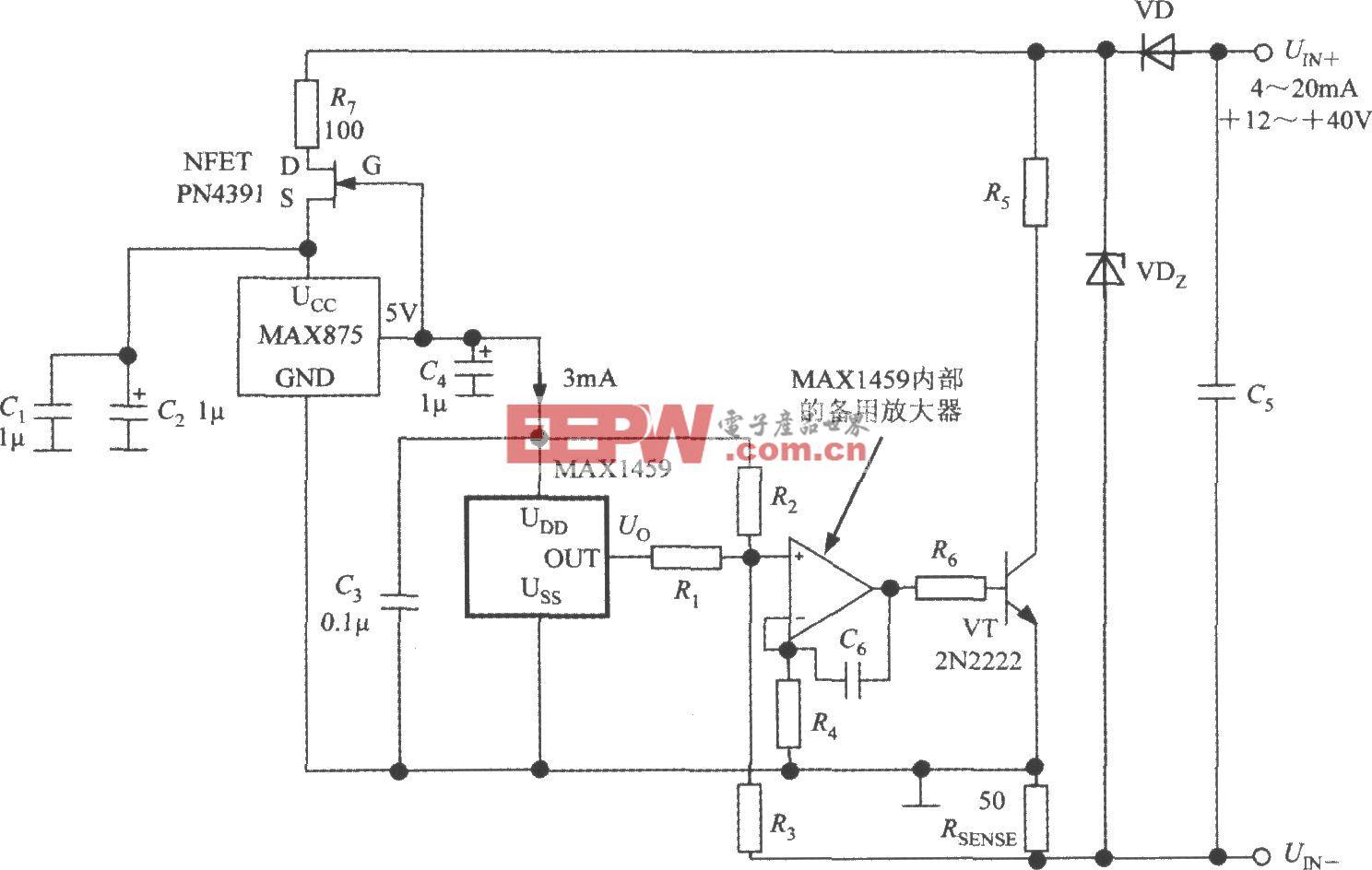 由数字式压力信号调理器MAX1459构成的4~20mA电流变送器的电路