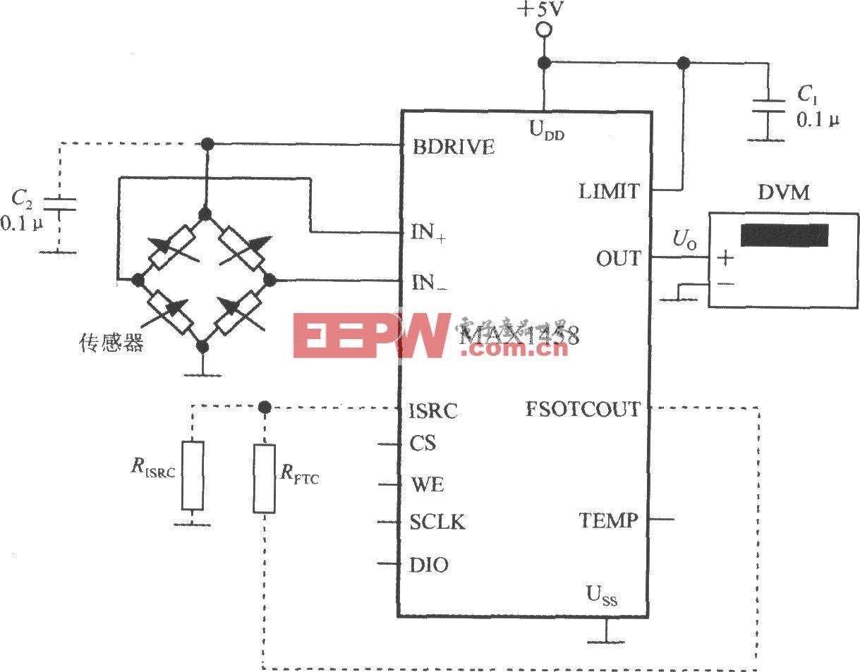 由數字式壓力信號調理器MAX1458構成數字式壓力測試儀的電路