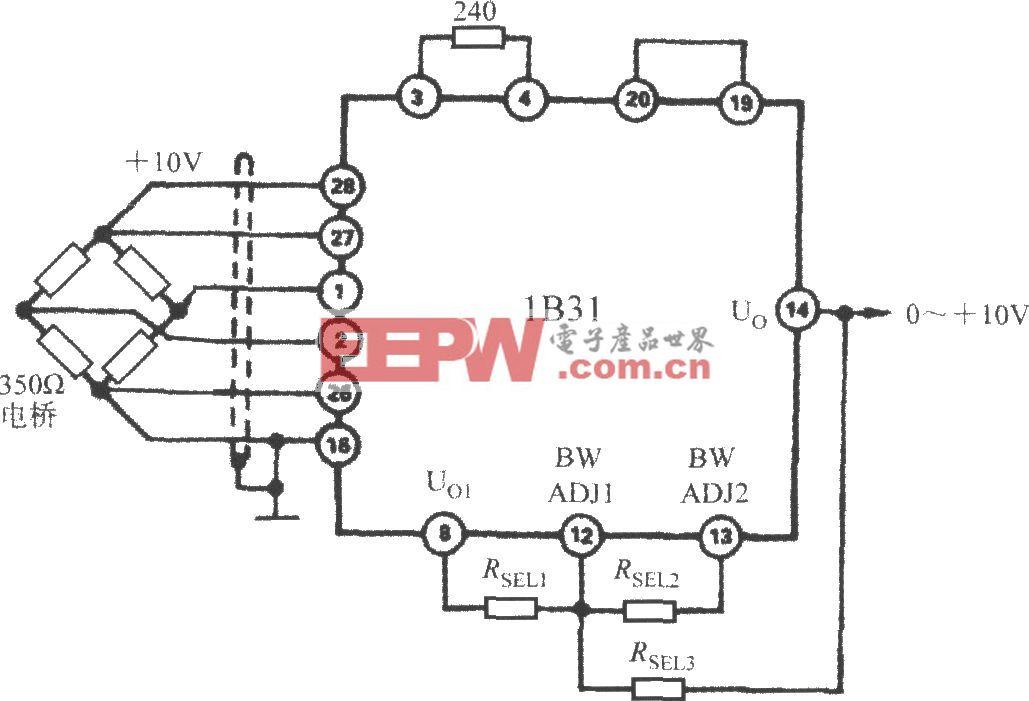 利用电阻来提高截止频率(宽带应变信号调理器1B31)