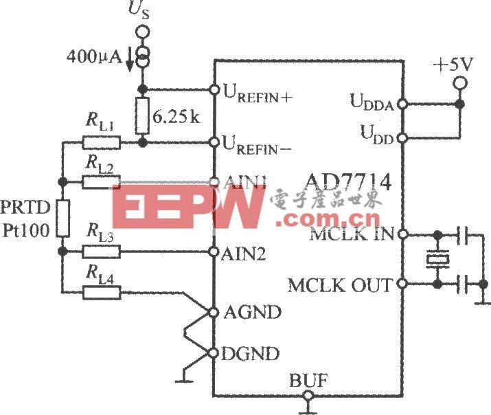 由5通道低功耗可编程传感器信号处理器AD7714与Pt100型铂热电阻(PRTD)构成的测温电路