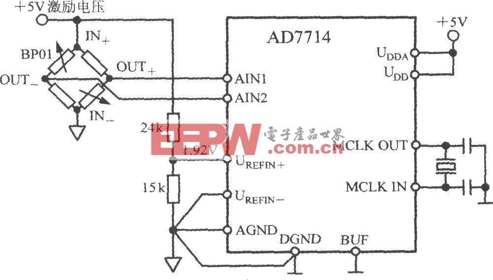 由5通道低功耗可编程传感器信号处理器AD7714构成压力测量系统电路