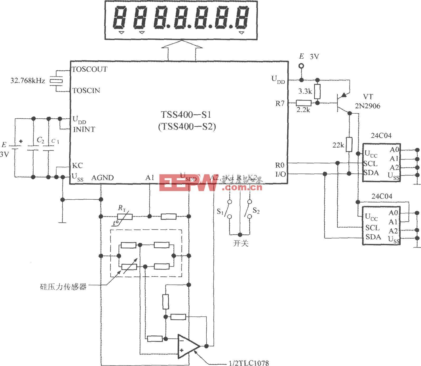 低功耗可编程传感器信号处理器TSS400-S1/S2的典型应用电路图
