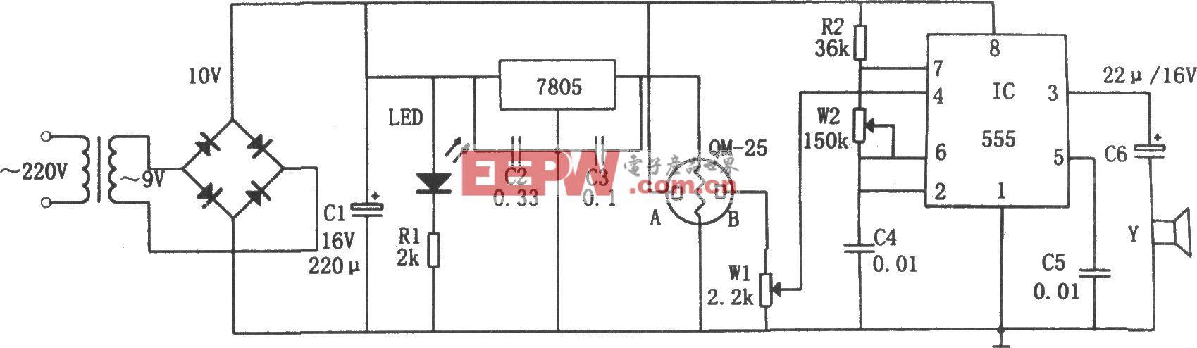 简易气体烟雾报警器(555、7805)