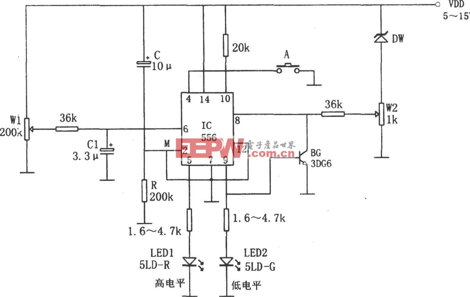555构成的电源电压高、低限报警器