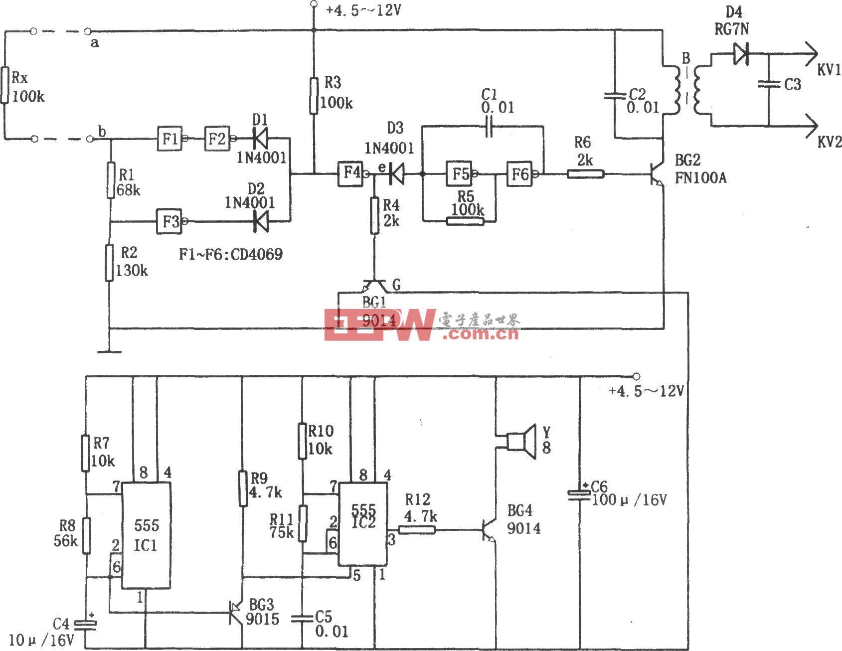 高压密码防护报警器(555、CD4069)