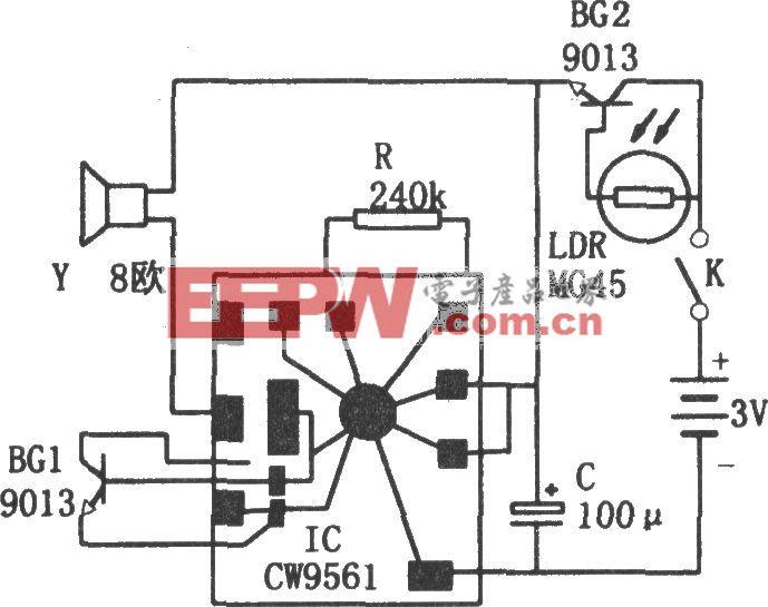 CW9561构成的感光式报警器