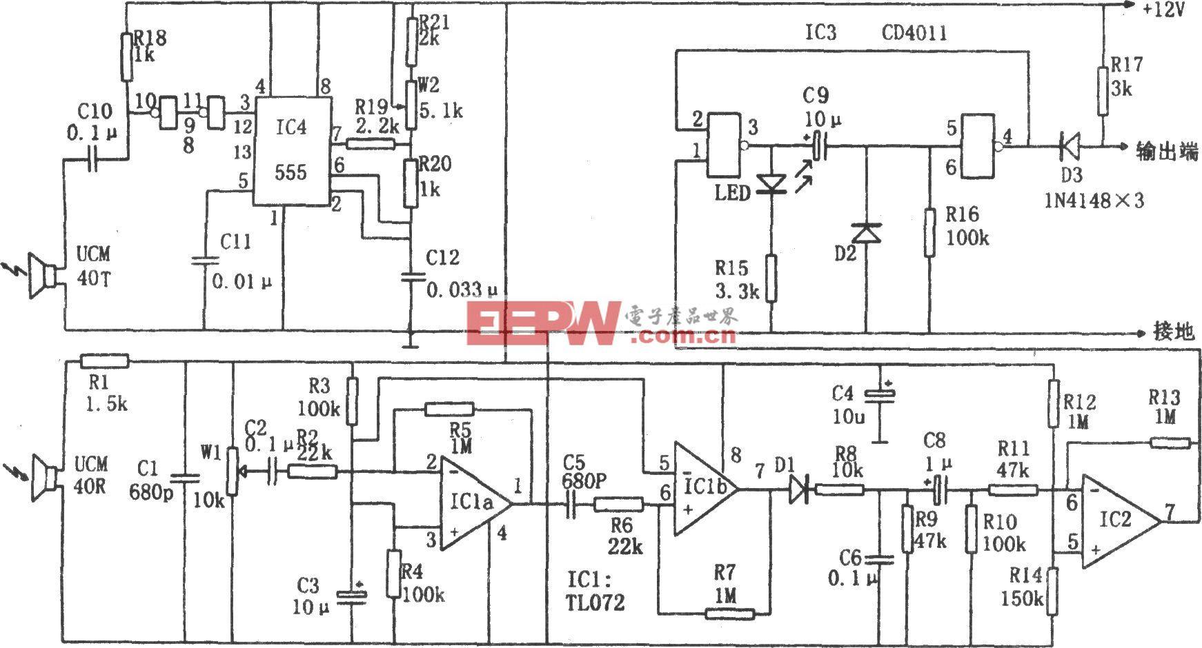 超声波防盗报警器(CD4011、TL072、555)