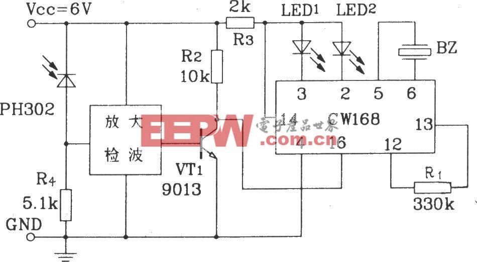 用红外线控制CW168的应用电路