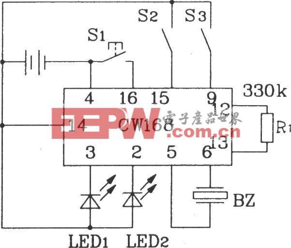 CW168新颖闪光报警集成电路典型应用电路