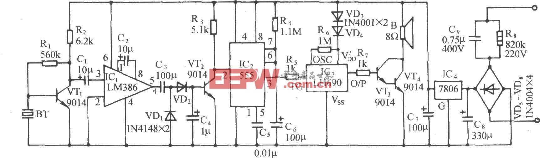 """振动传感式""""和尚念经""""电路(LM386、LH690)"""