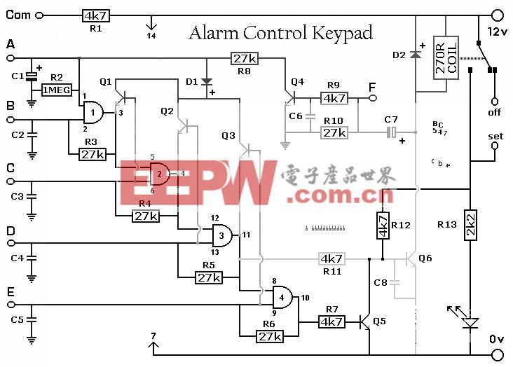 警报器控制键盘电路