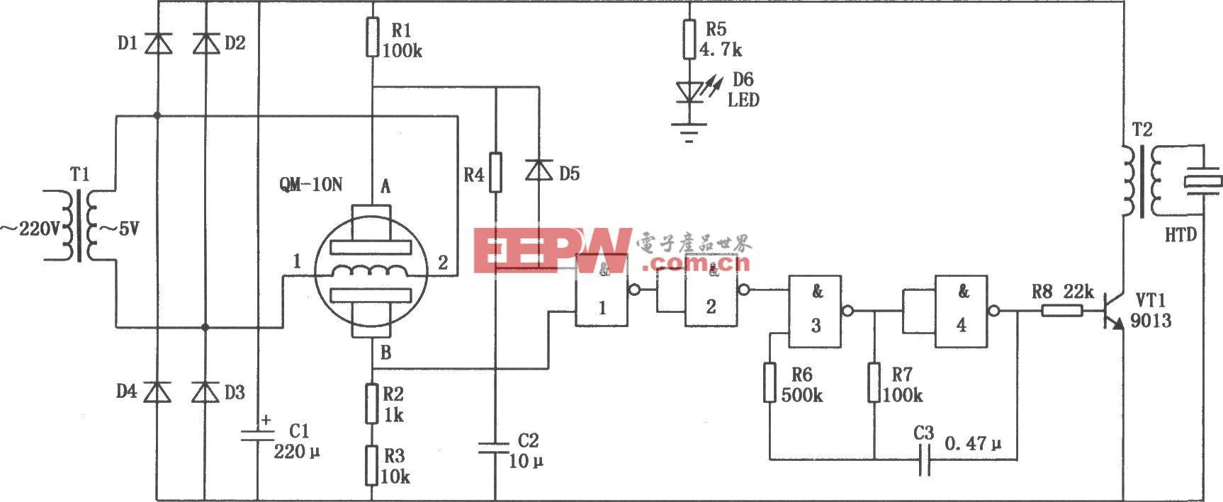 实用煤气泄漏报警器电路(CD4011)
