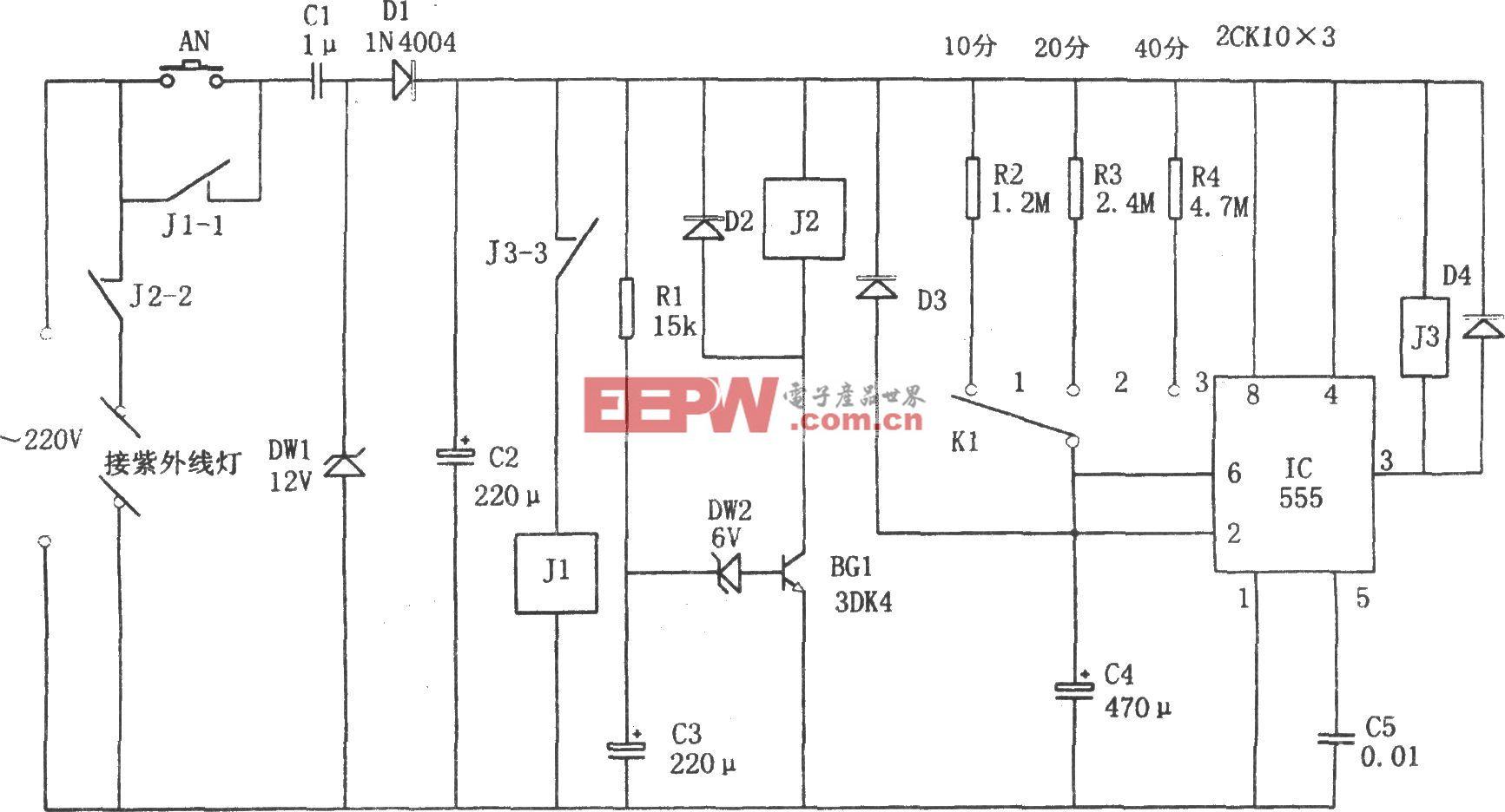555构成的用于EPROM擦除的自动控制装置