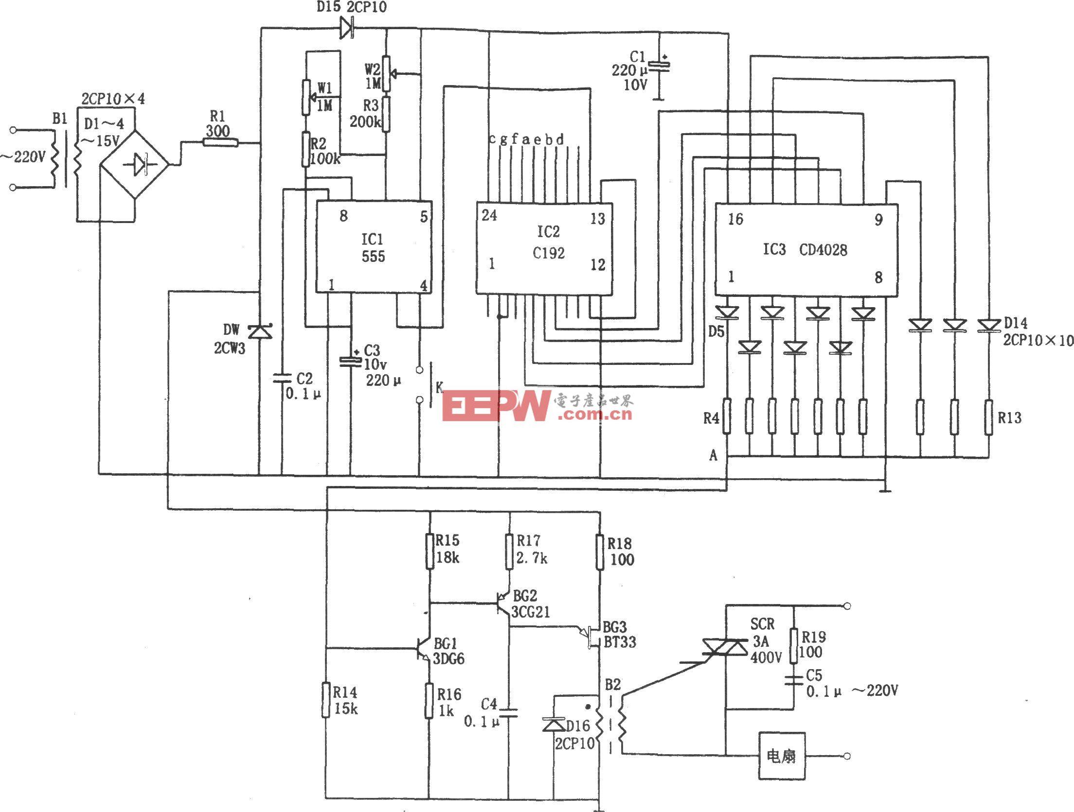 自动变换l0挡风速的控制器(C192、555、CD4028)