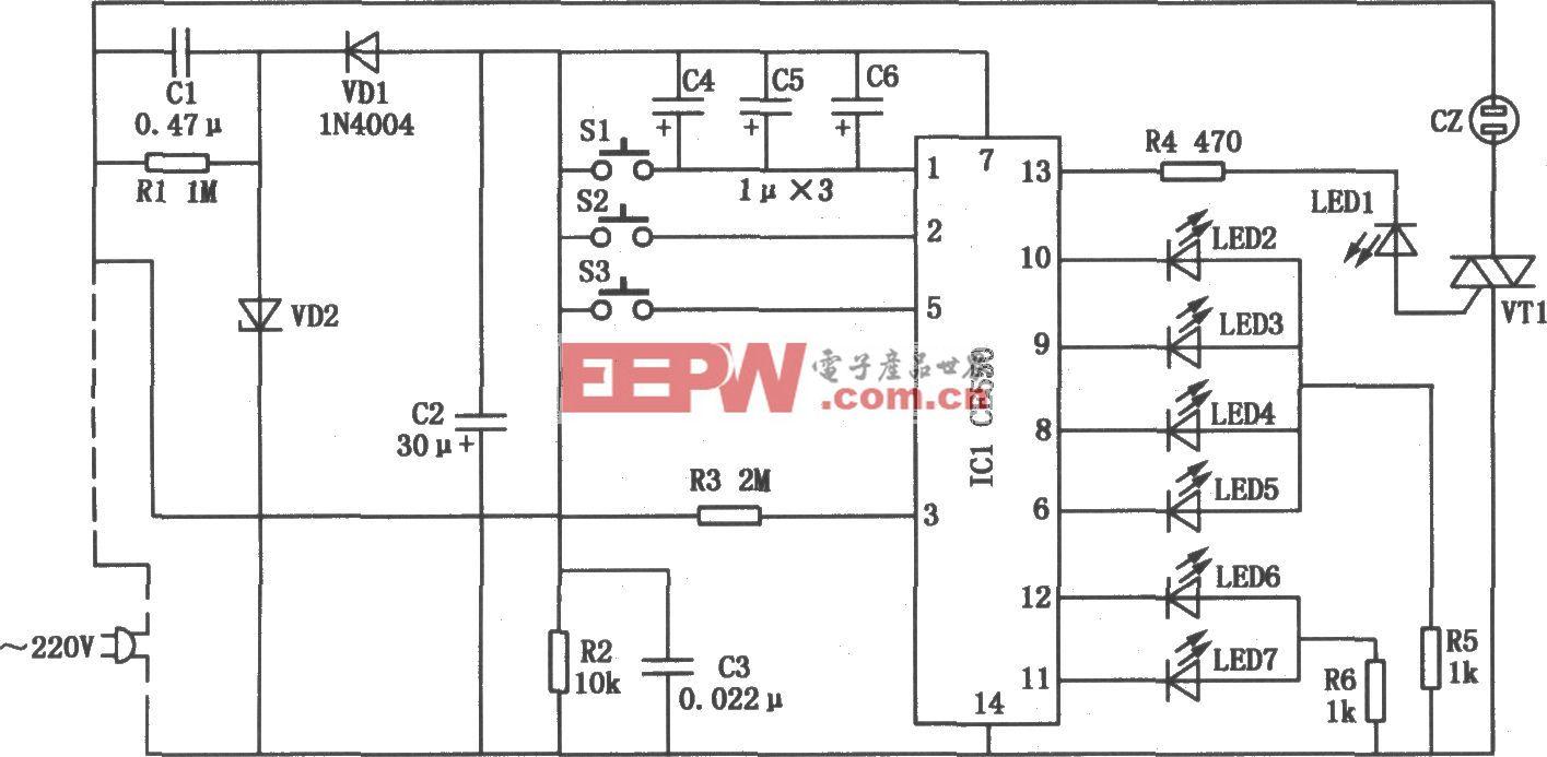 电风扇专用控制器-自动控制电路图-电子产品世界