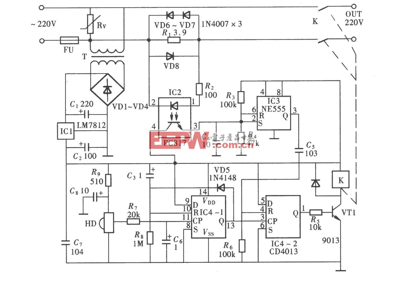 由CD4013、NE555组成的家电待机节电控制器