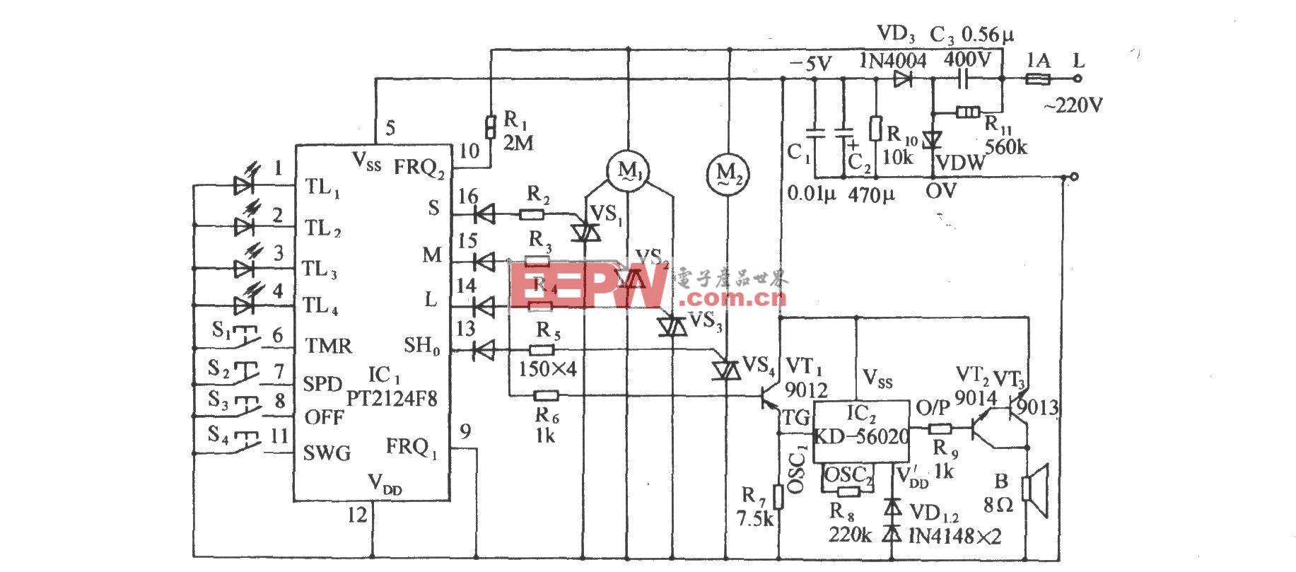 用PT2124的多功能电风扇伴蟋蟀声控制电路