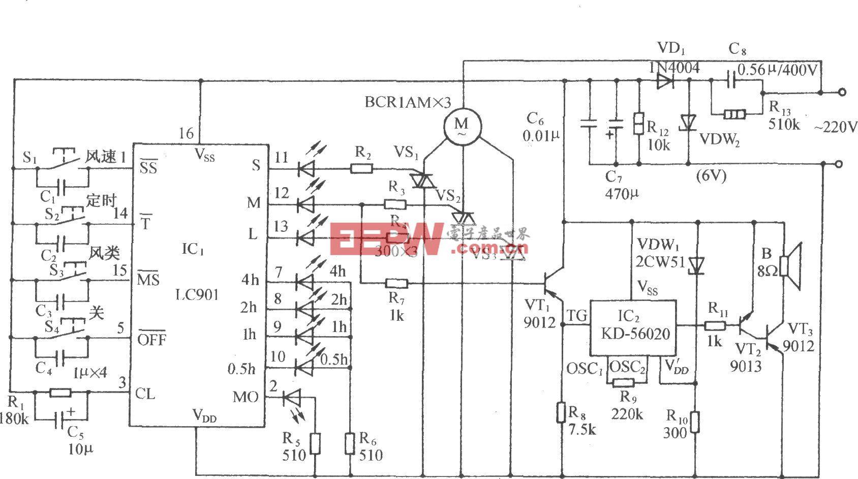 用LC901的多功能电风扇伴蛙鸣声控制电路