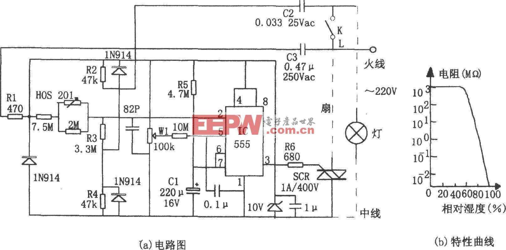 555构成的室内湿度控制电路