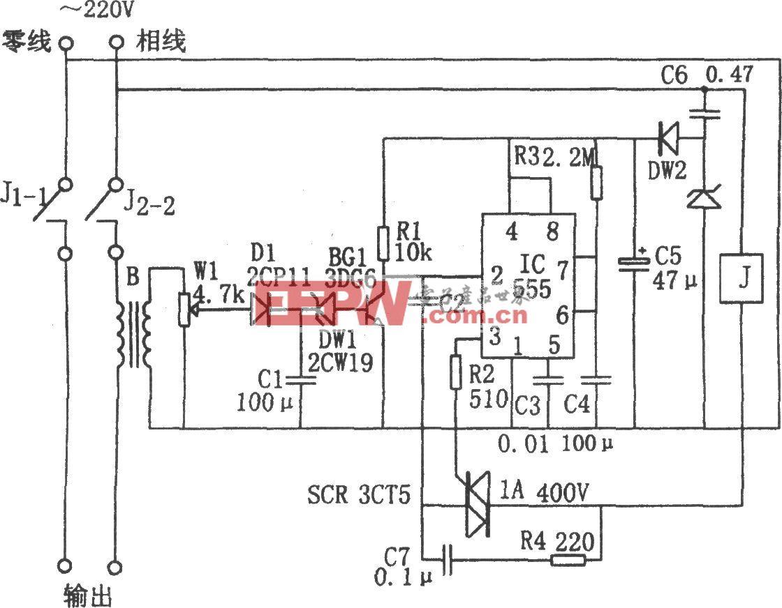 555构成的单相定量供电控制器