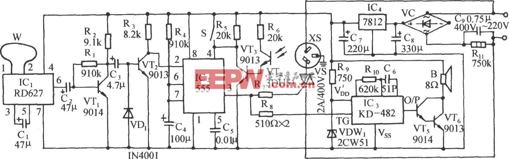多普勒效应和光照双控自动门插座电路(RD627)