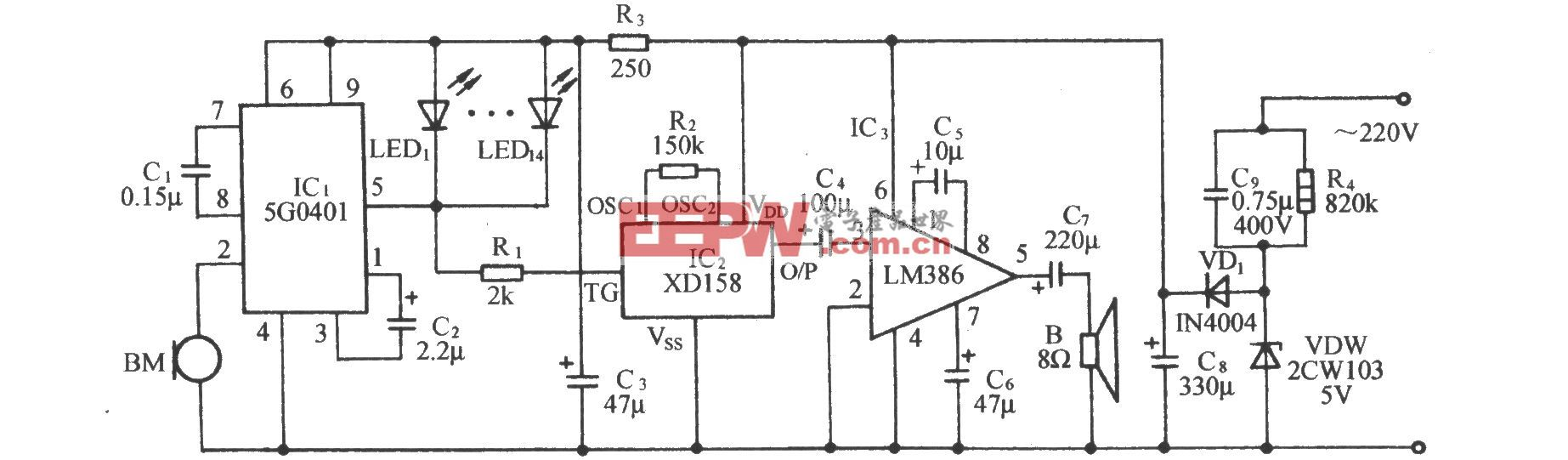 5G0401声控同步闪光伴迪斯科鼓点乐电路